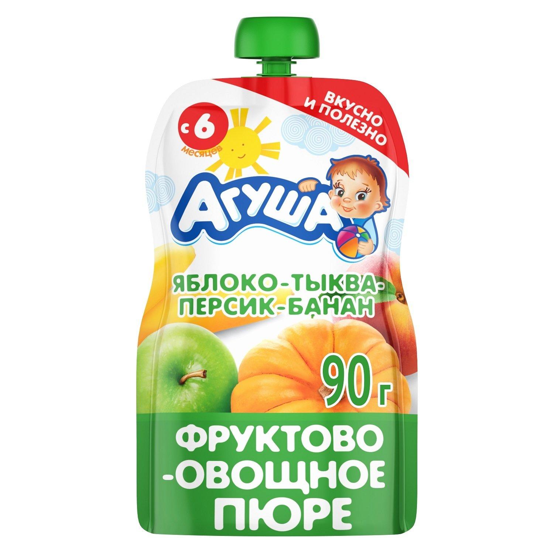 Купить Пюре Агуша Яблоко-тыква-персик-банан с 6 месяцев 90г, Детское пюре