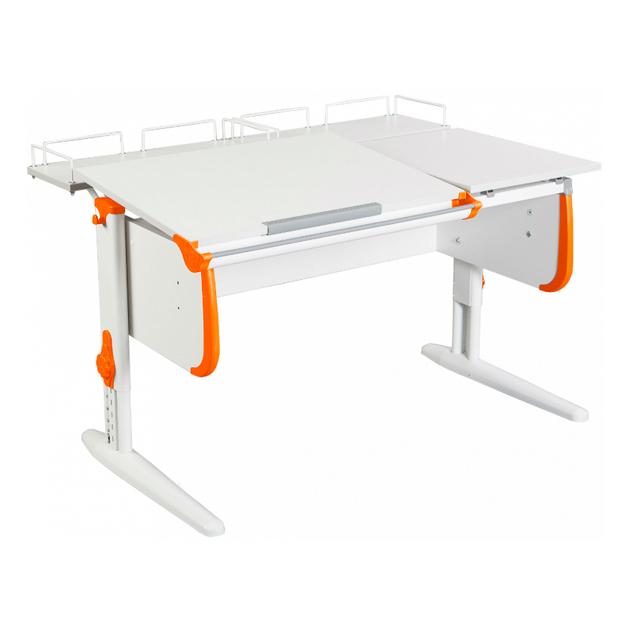 Парта Дэми СУТ-25-01 WHITE DOUBLE со столешницей и приставками белый, оранжевый, белый,