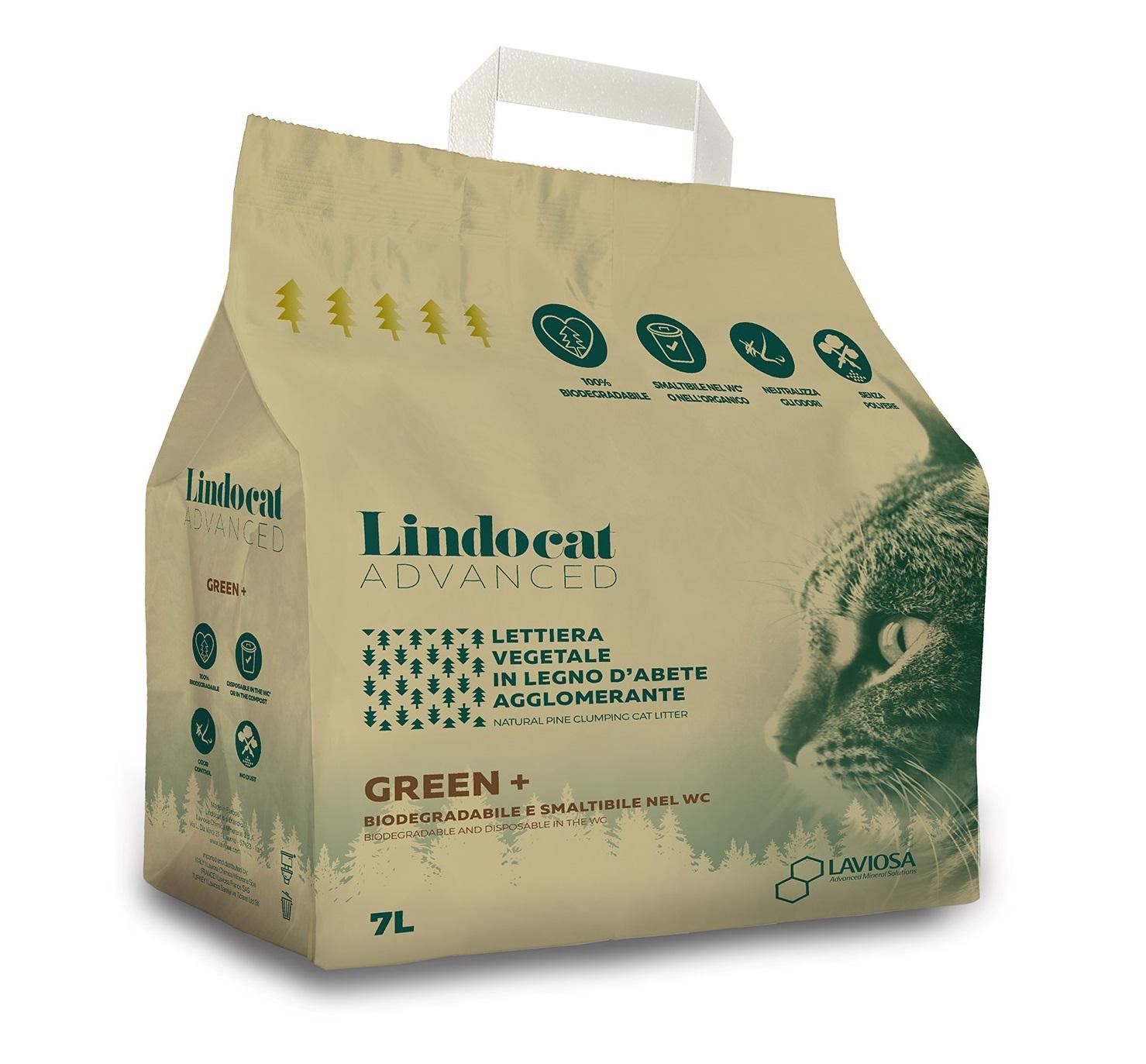 Наполнитель для кошачьего туалета Lindocat Advanced Green+, комкующийся древесный, 7л
