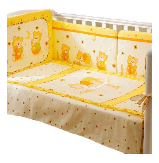 Комплект в кроватку Perina Ника Мишка на подушке 4 предмета бежевый