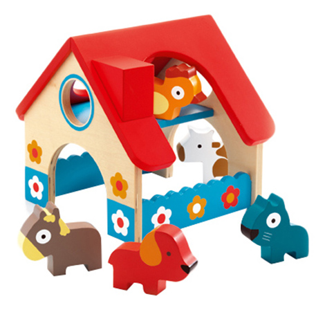 Купить Деревянная игрушка для малышей Djeco Деревянная ферма (5 животных), Развивающие игрушки