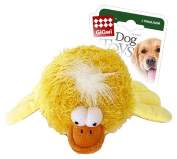 Мягкая игрушка для собак GiGwi Утка с пищалкой с теннисным мячом, 12 см