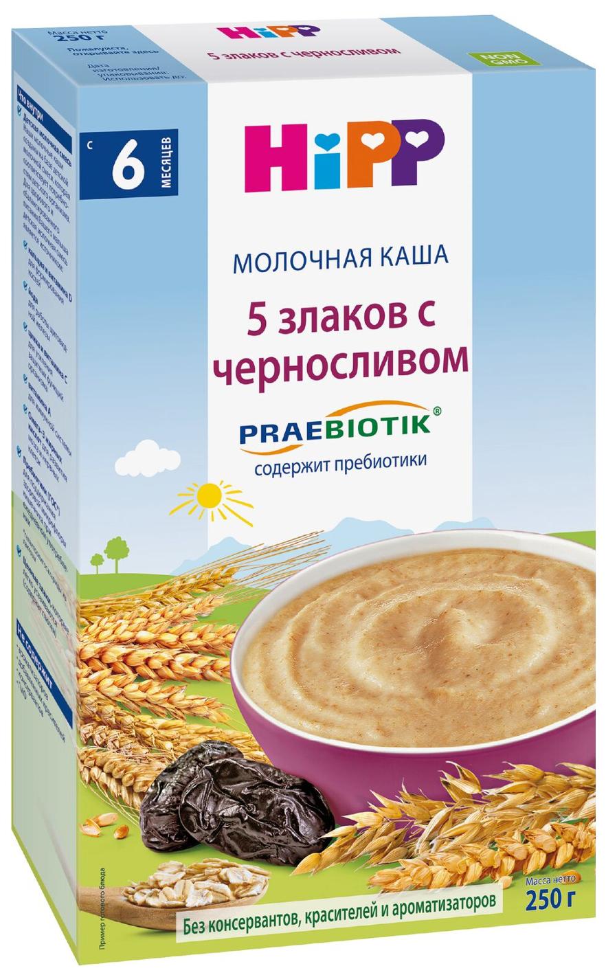 Купить Каша молочная HiPP 5 злаков с черносливом и пребиотиками с 6 мес. 250 г, Детские каши