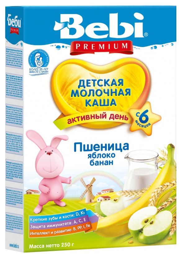 Купить Пшеничная с яблоком и бананом 250 г, Молочная каша Bebi Пшеничная с яблоком и бананом с 6 мес 250 г, Детские каши