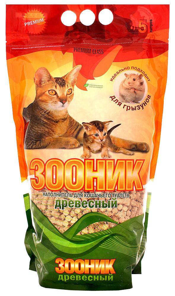 Впитывающий наполнитель для кошек Зооник древесный, 3.25 кг, 5 л, 4 шт фото