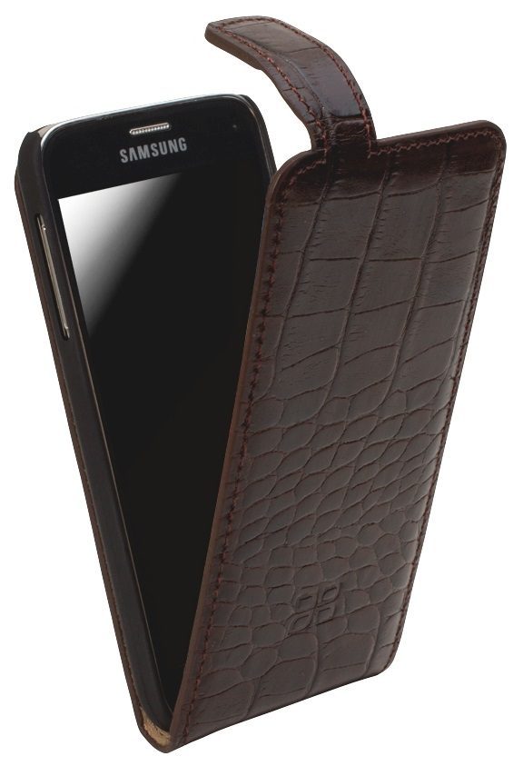 Кожаный чехол флип Bouletta /Стандарт/ Коричневый-K2 для Samsung Galaxy S5 Mini, Bouletta