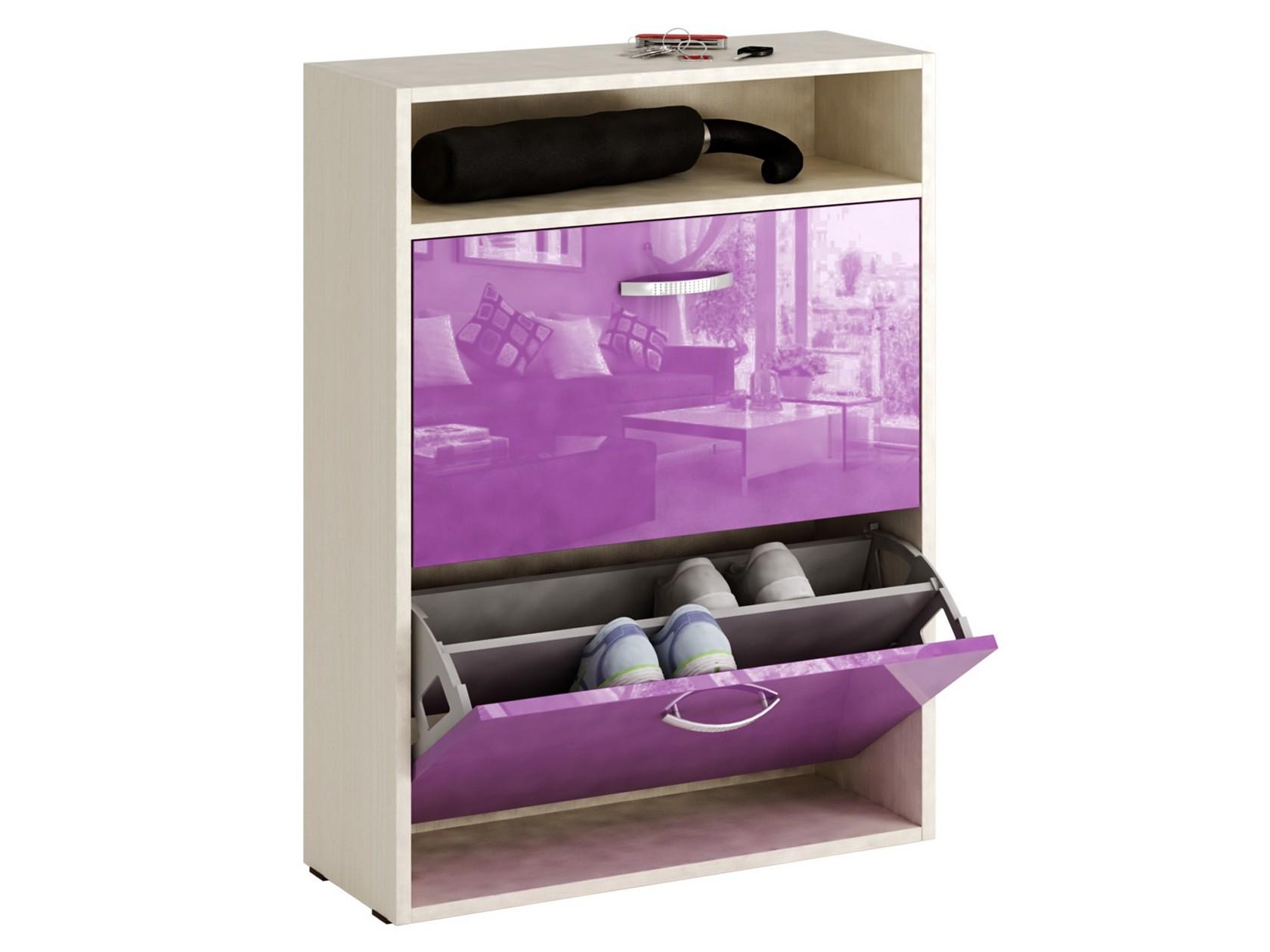 Обувница MFMaster Милан-25 МСТ-ОДМ-25 60х22,2х88,2 см, дуб молочный/фиолетовый глянец
