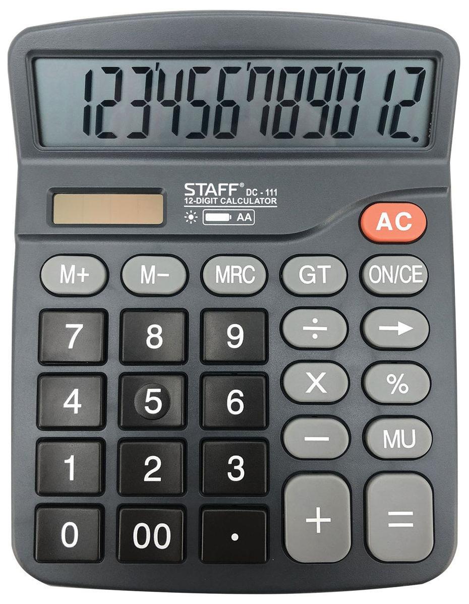 Калькулятор Staff PLUS настольный DC-111, батарейка АА, 12 разрядов, 180x145 мм