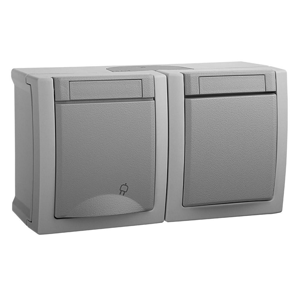 Блок (Выключатель 1кл + Розетка с/з с крышкой) горизонтальный серый PACIFIC