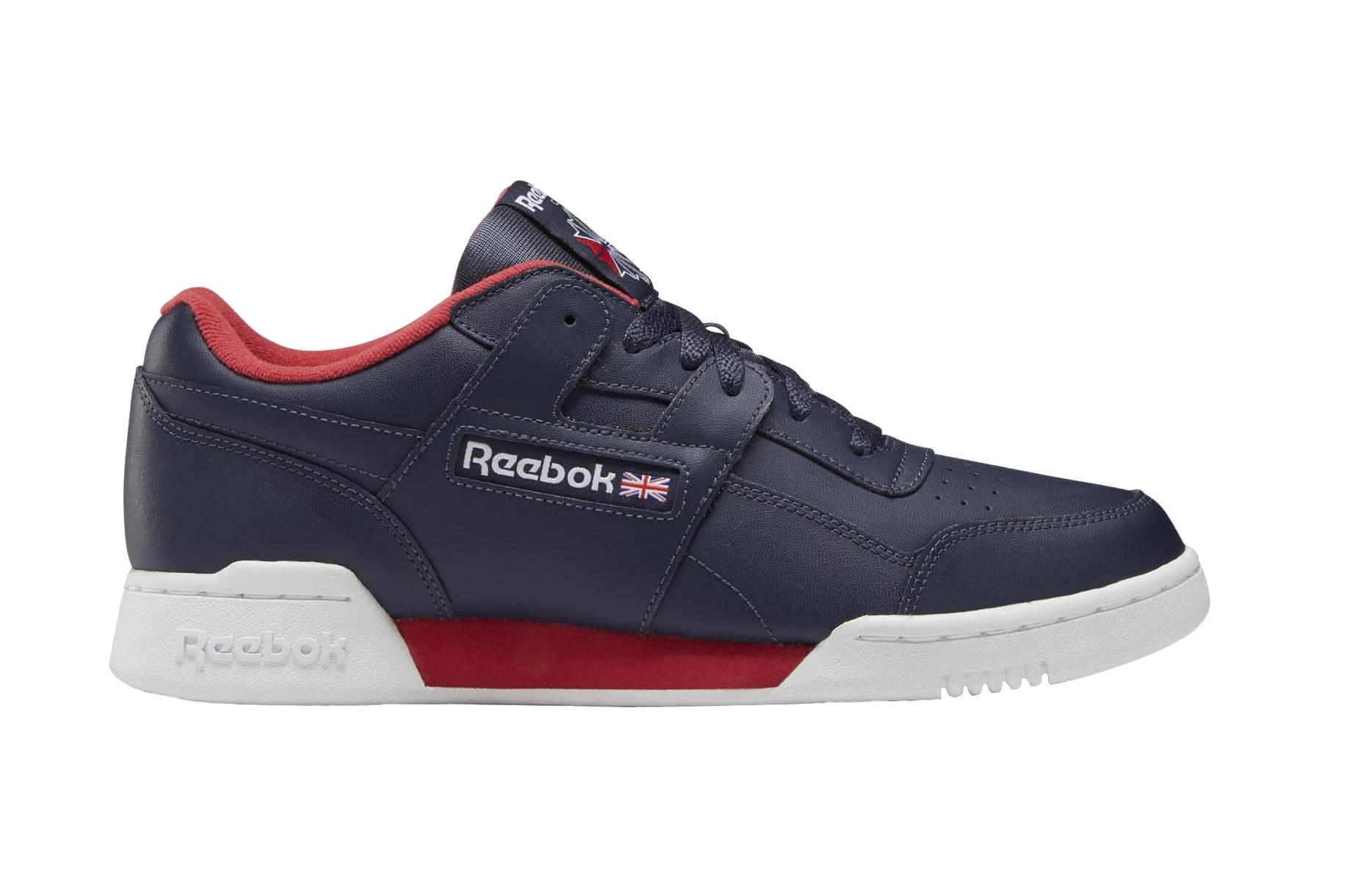 Кроссовки Reebok Workout Plus, blue/heritage navy/white/rebel red, 9.5 US фото