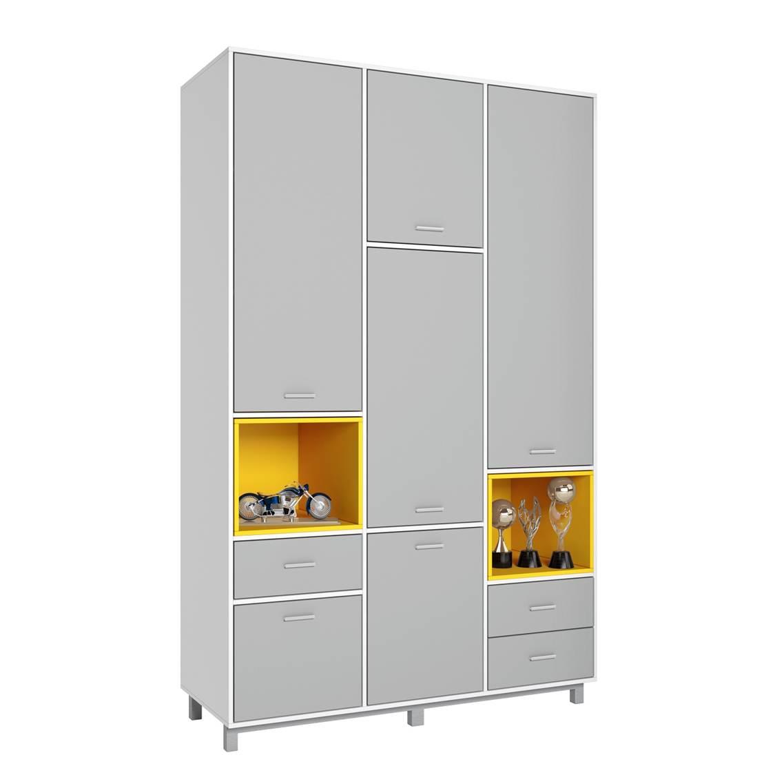 Купить Детский шкаф трехсекционный Polini kids Mirum 2335 белый-серый/желтый, Шкафы в детскую комнату