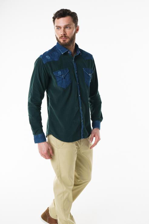 Рубашка мужская Sahera Rahmani 9011417-40 зеленая XXL