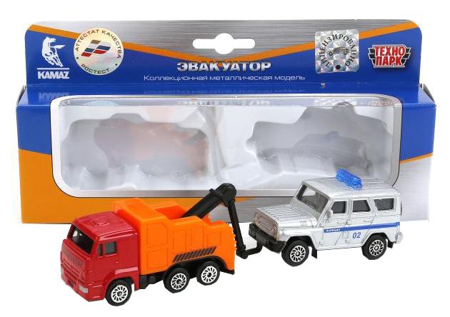 Набор машин Технопарк КАМАЗ эвакуатор и УАЗ Хантер SB-17-46+UAZ-WB фото