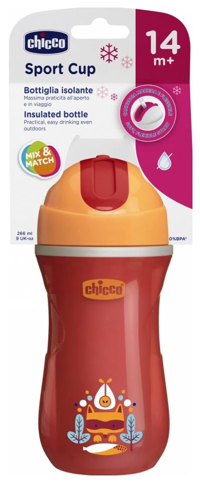 Чашка-поильник Chicco Sport Cup с трубочкой, 266 мл, Красный фото