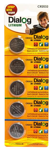 Батарейка Dialog Lithium CR2032-5B 5 шт