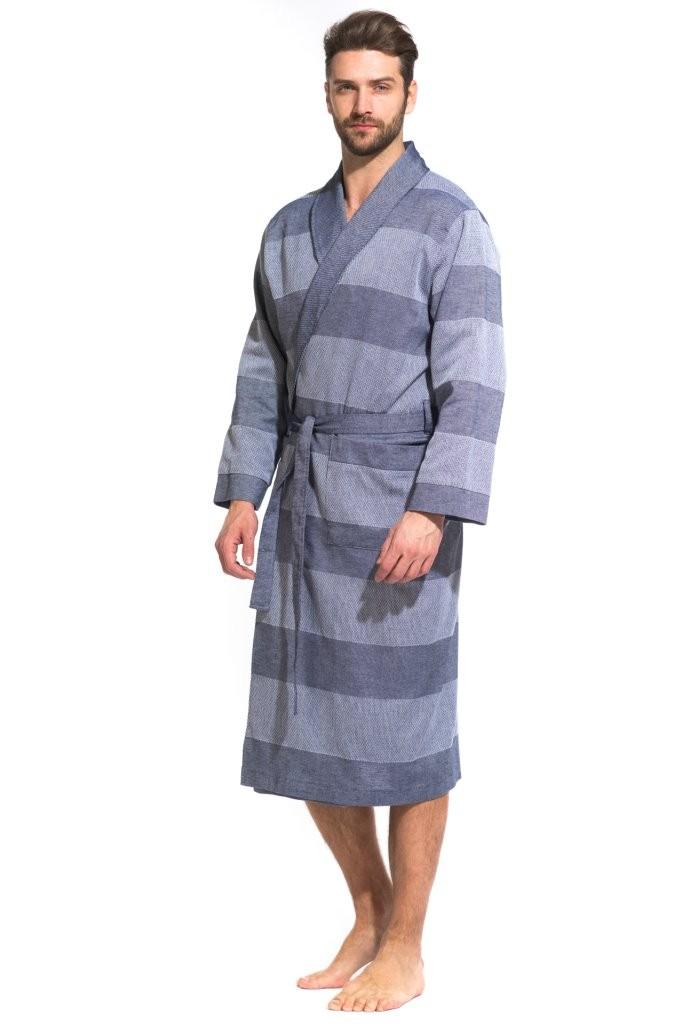 Легкий мужской халат из органического хлопка Pur Organique 417 (мужской) 417/синий/XXXL