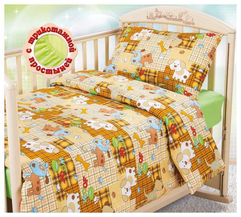 Комплект детского постельного белья Текс-Дизайн с трикотажной простыней Тузик бязь