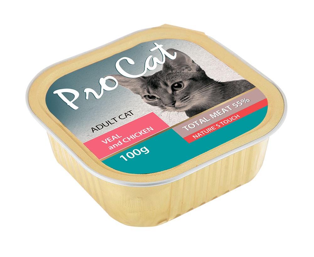 Консервы для кошек Pro Cat Adult, телятина