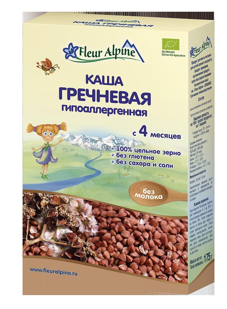 Каша безмолочная Fleur Alpine Органик гречневая гипоаллергенная, 4 мес., 175/6