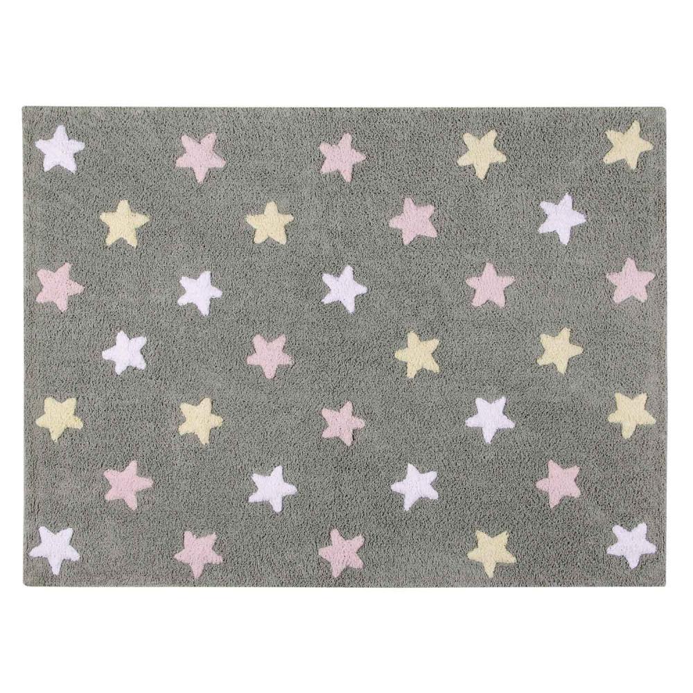 Купить Lorena canals ковер триколор звезды stars tricolor (серо-розовый) 120*160, Коврики для детской