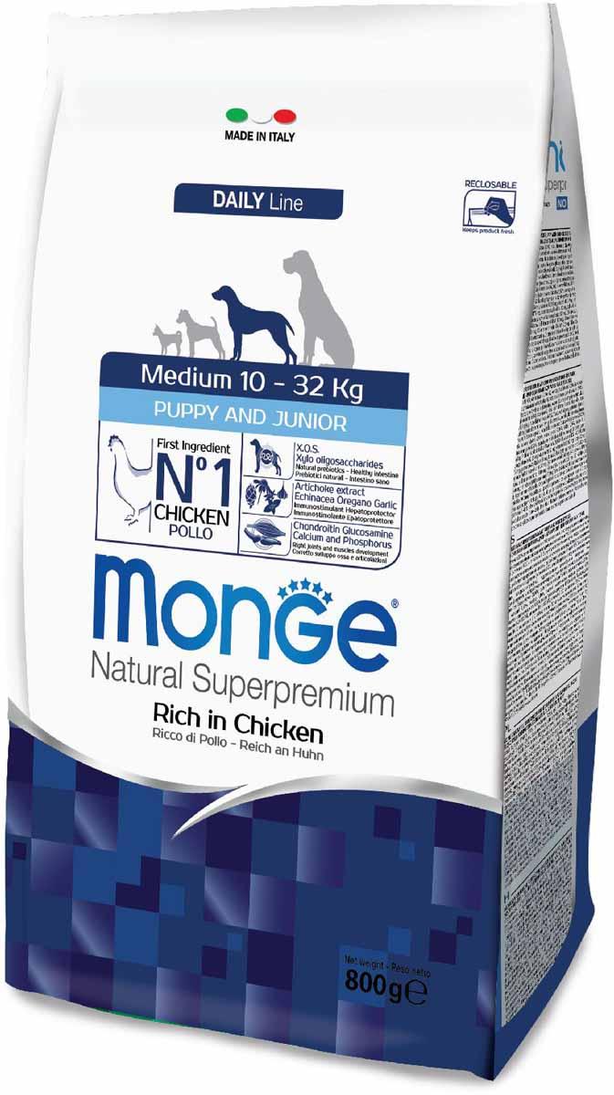 Сухой корм для щенков Monge Medium Puppy&Junior, для средних пород, курица, 0,8кг