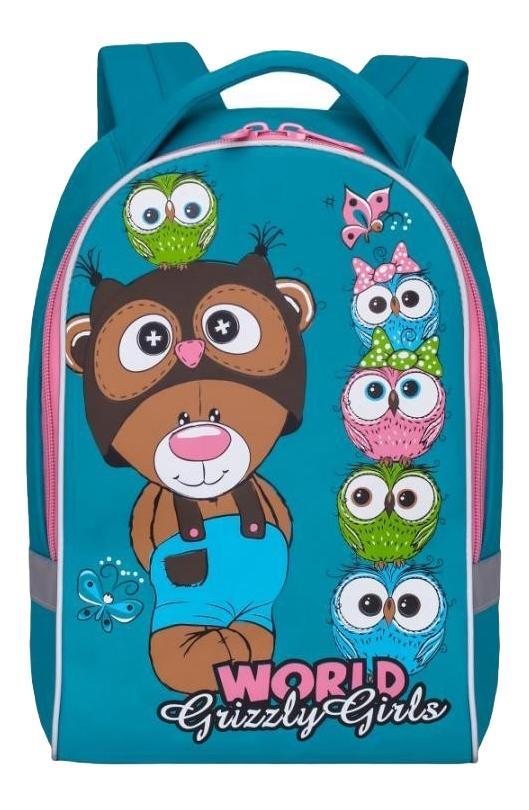 Купить Ранец RS-896-4/1 бирюзовый, Рюкзак Grizzly RS-896-4/1 бирюзовый, Детские рюкзаки