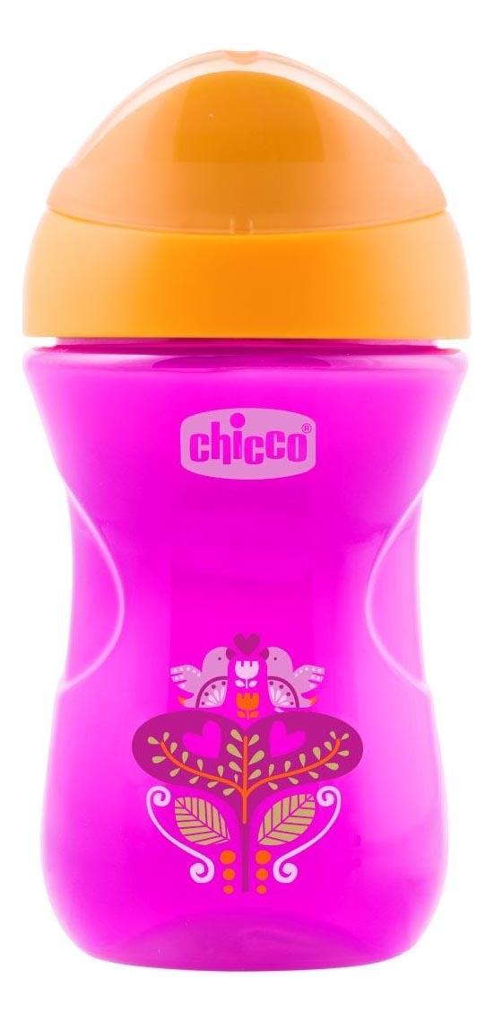 Поильник Chicco 266 мл (с 12 мес) розовый Цветочек