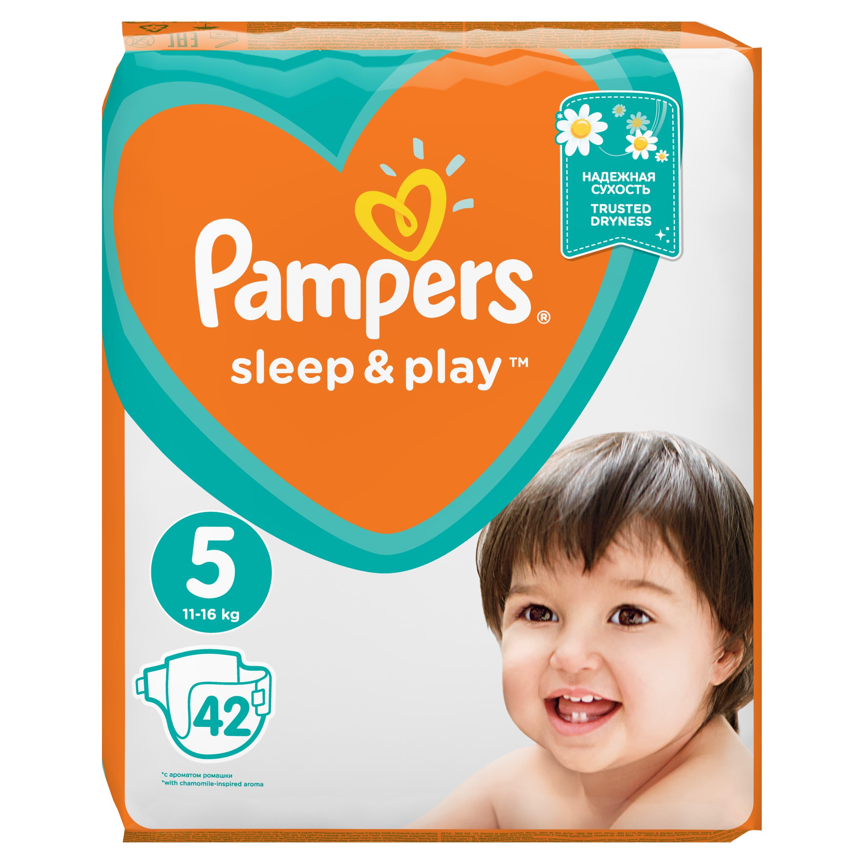 Купить PAMPERS Подгузники Sleep & Play Junior (11-16 кг) Упаковка 42, Подгузники Pampers Sleep & Play Junior (11-16 кг) 42 шт.