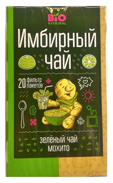 Чай зеленый Fitness кондитерская bio national байховый с имбирем мохито 20 пакетиков фото