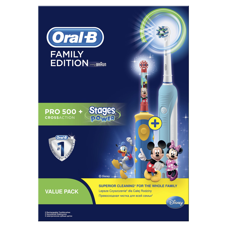 Подарочный набор Oral-B Электрические зубные щетки PRO 500 CrossAction+Stages Power Микки