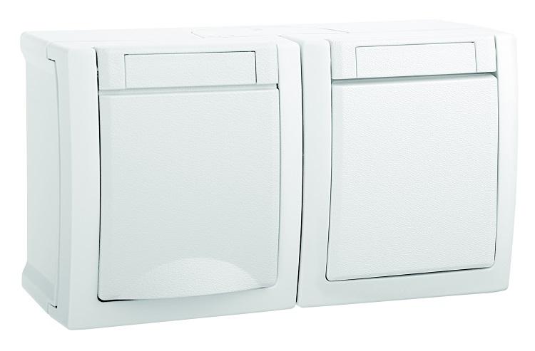 Блок (Выключатель 1кл + Розетка с/з с крышкой) горизонтальный белый PACIFIC