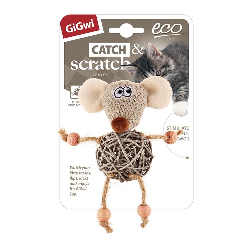 Апорт для собак GiGwi Мышка с плетеным мячиком с колокольчиком, длина 15 см фото