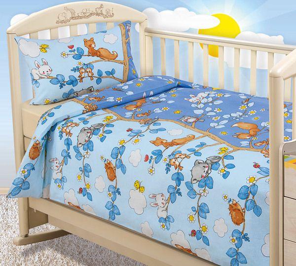 Купить С трикотажной простыней на резинке, Постельное белье ясельное Текс-Дизайн День и ночь, на резинке, Комплекты детского постельного белья