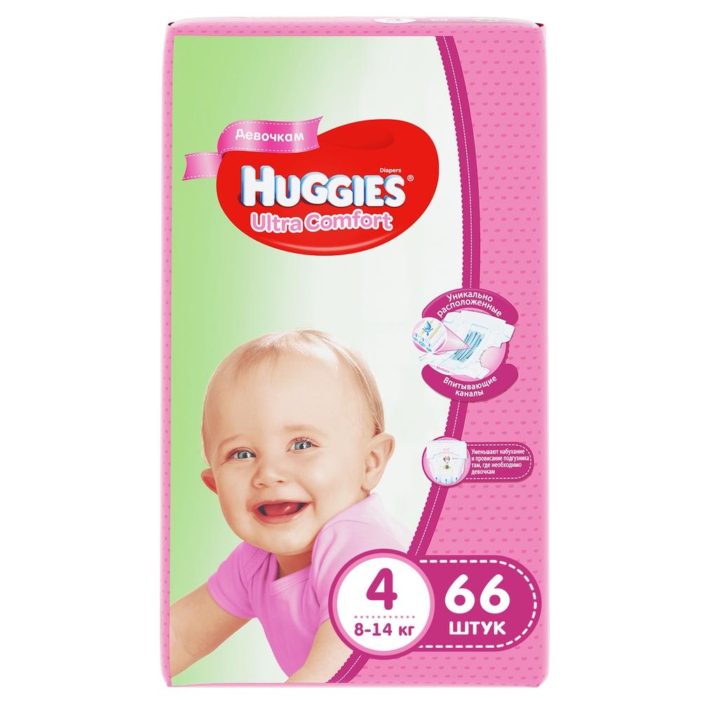 Купить Подгузники Huggies Ultra Comfort для девочек 4 (8-14 кг), 66 шт.,