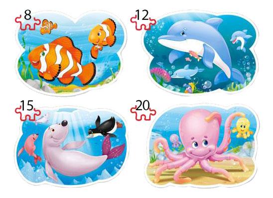 Купить Пазл Castorland 4 в 1 Подводный мир 8 х 12 х 15 х 20 деталей B-043026, Пазлы