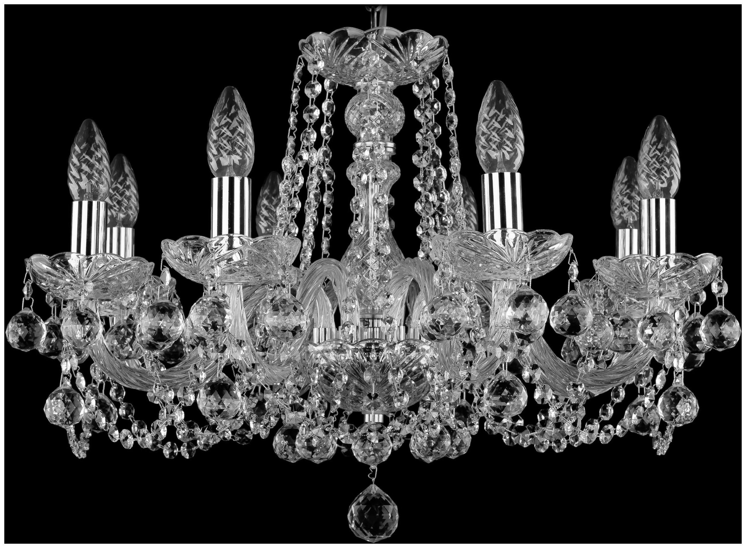 Люстра подвесная Bohemia Ivele Crystal 1402/8/195/Ni/Balls