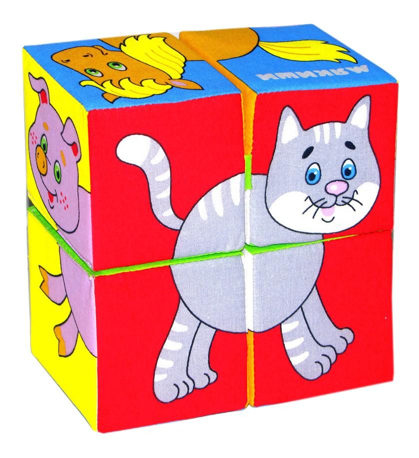 Купить Детские кубики Мякиши Набор из 4 кубиков Собери картинку Домашние животные, Развивающие кубики