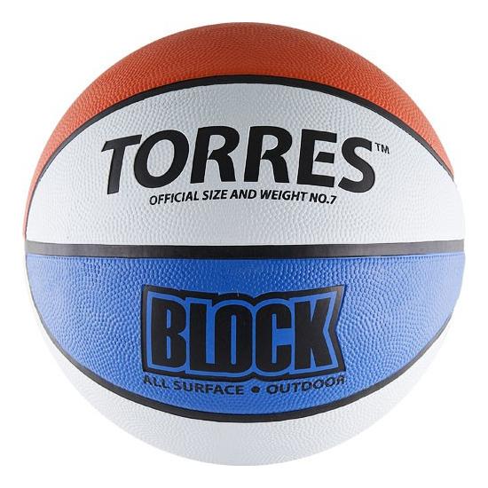 Баскетбольный мяч Torres Block B00077 №7 blue/white/red фото