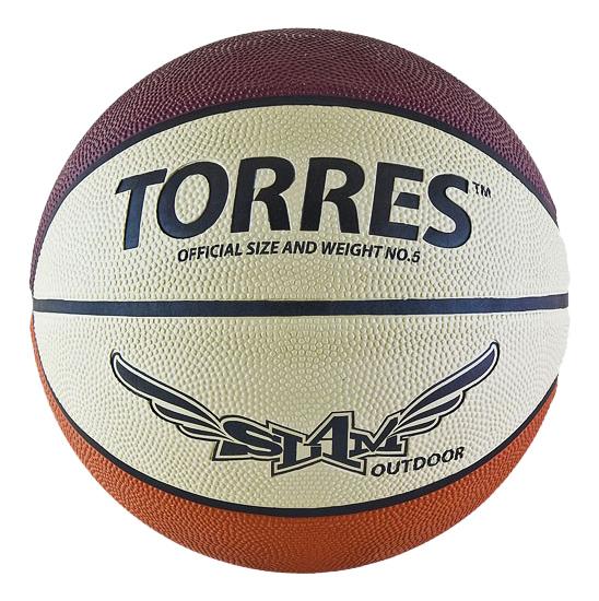 Баскетбольный мяч Torres Slam B00065 №5 brown/white фото