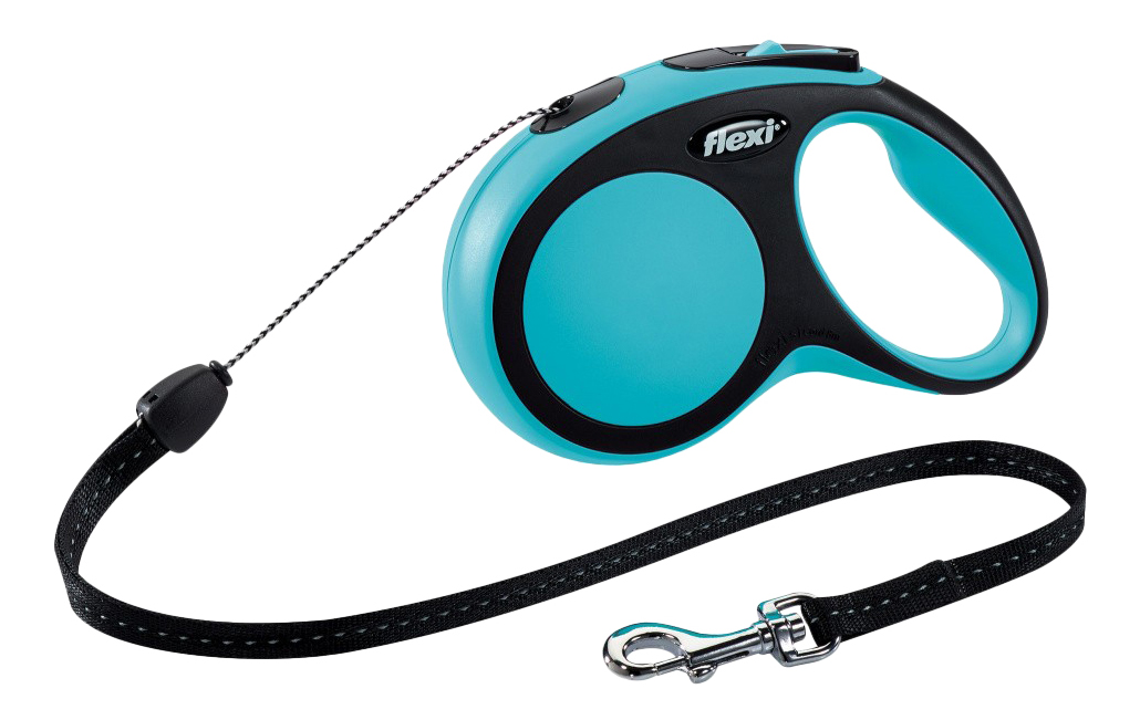 Поводок-рулетка для собак flexi New Comfort, трос, синий, S, до 12 кг, 8 м
