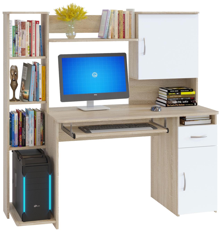Компьютерный стол СОКОЛ КСТ-11.1 148,6x60x144,4, дуб сонома/белый