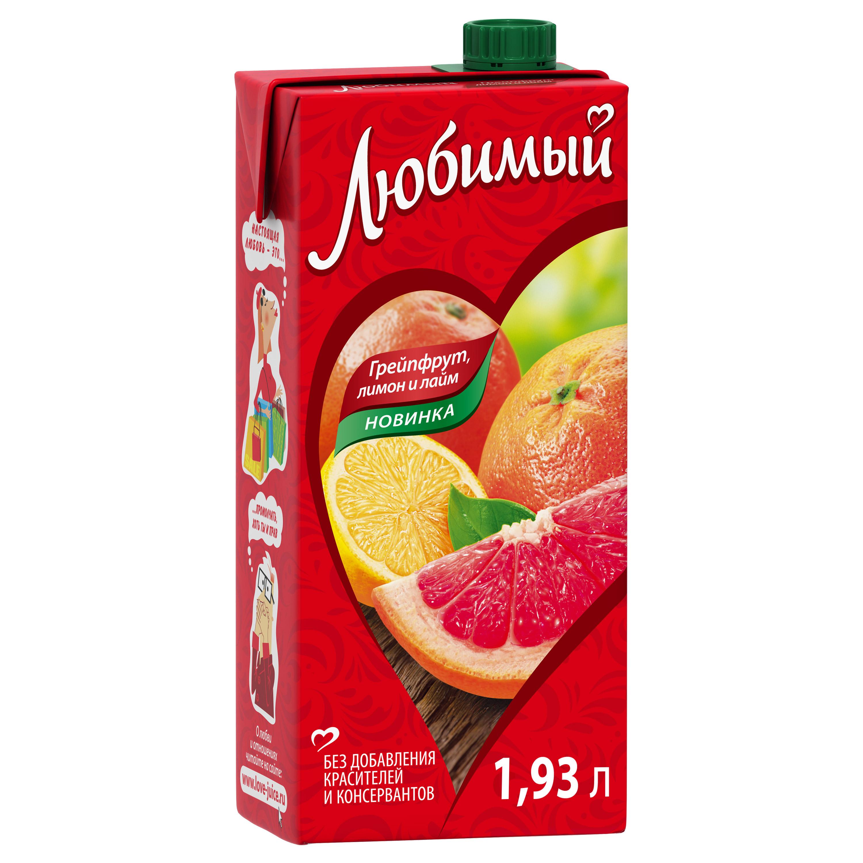 Напиток сокосодержащий Любимый грейпфрут-лимон-лайм 1.93 л фото