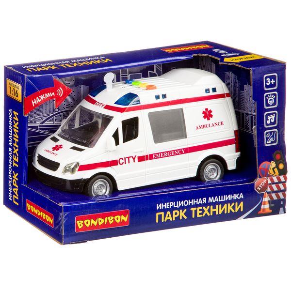 Купить Инерционная машинка Bondibon «ПАРК ТЕХНИКИ», скорая, свет, звук BOX 27, 5х12х17, Игрушечные машинки