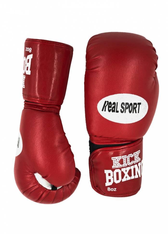 Перчатки для кикбоксинга RealSport RS108 красные 8 унций фото