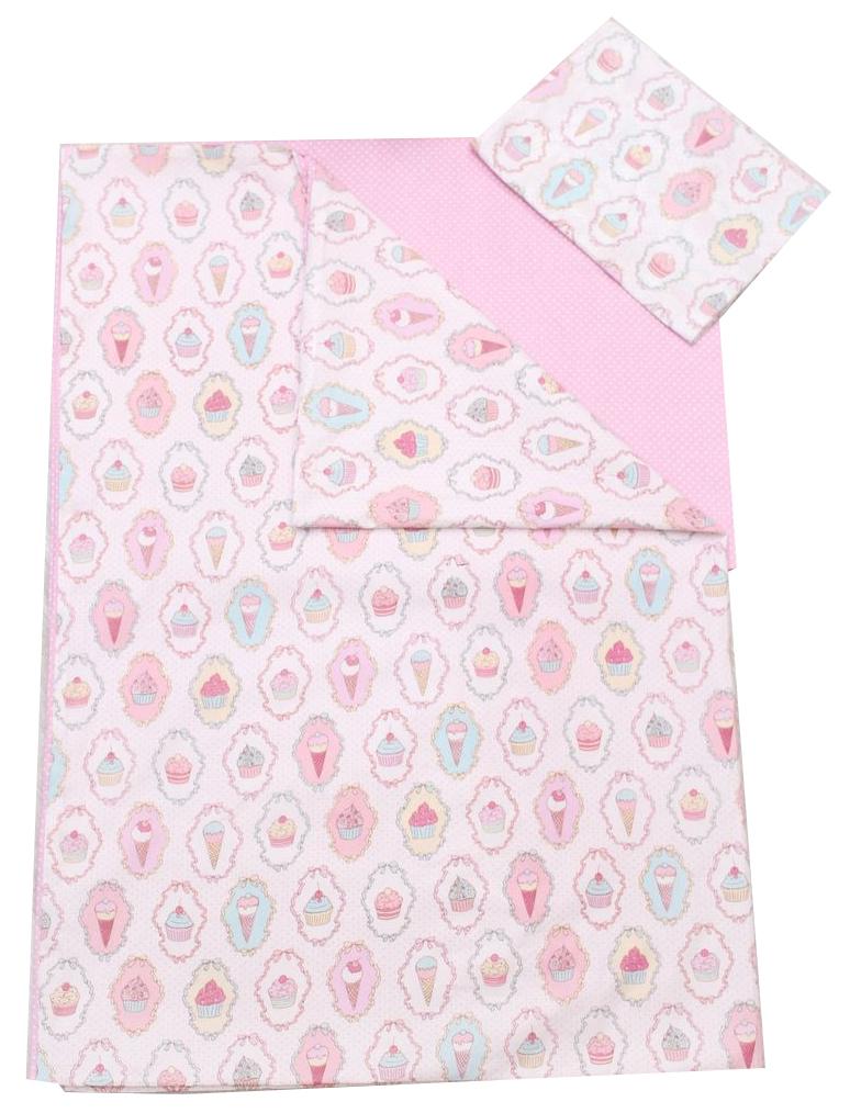 Комплект детского постельного белья AmaroBaby TIME TO SLEEP Пироженки Розовый