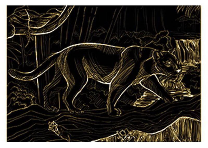 Гравюра Рыжий кот А4 с эффектом золота Пантера в джунглях