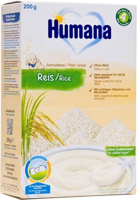 Купить Каша Humana безмолочная Рис с 4 мес 200 гр, Детские каши