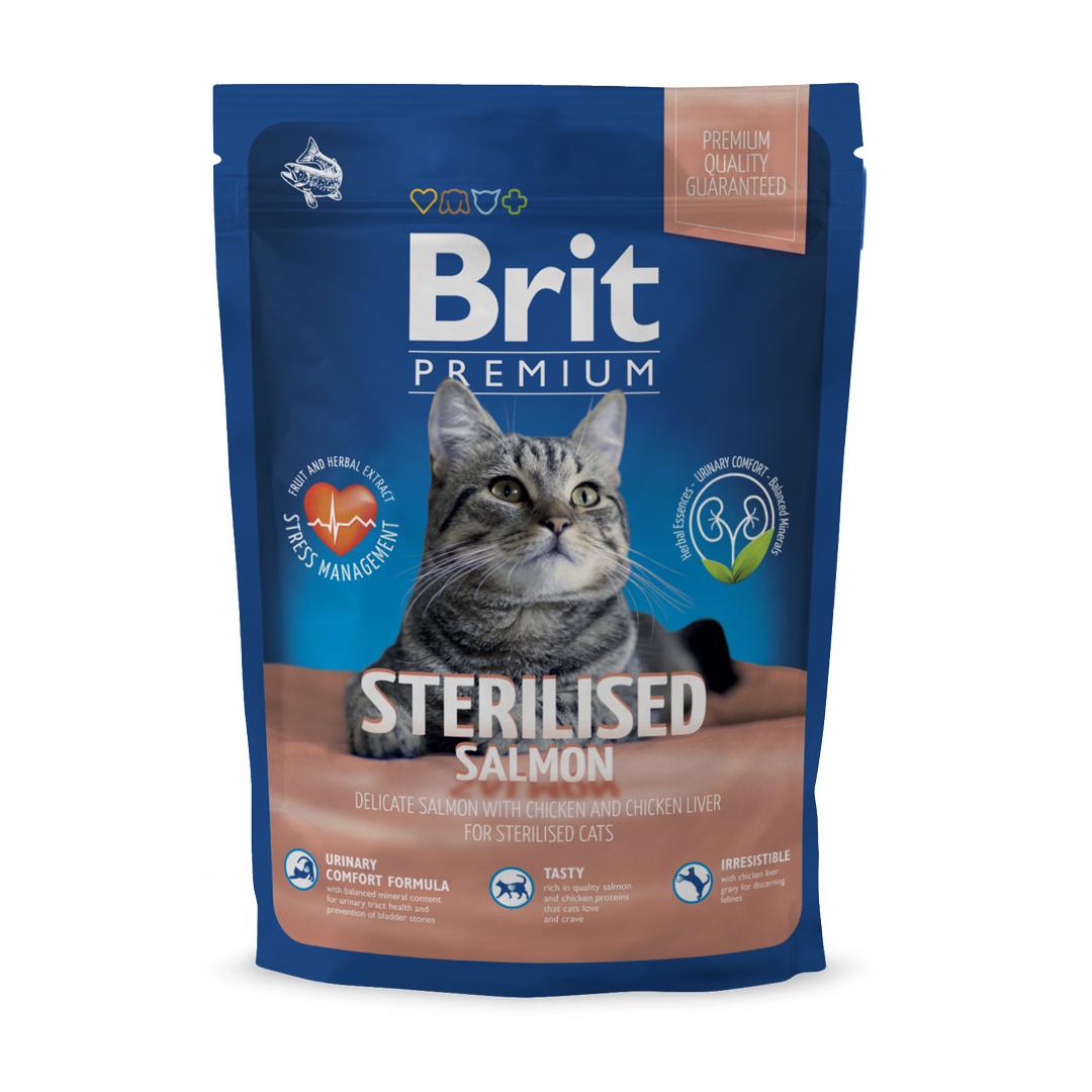 Сухой корм Brit Premium Cat Sterilised для стерилизованных кошек 300 г, Лосось и печень
