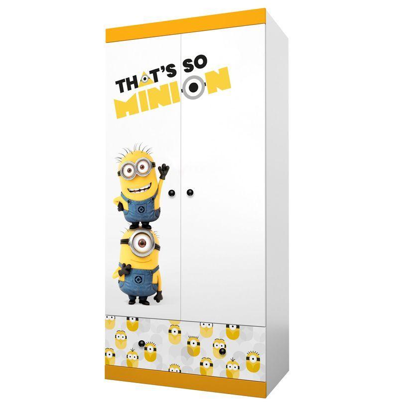 Купить Детский шкаф двухсекционный Polini kids Fun 890 Миньоны, желтый, Шкафы в детскую комнату