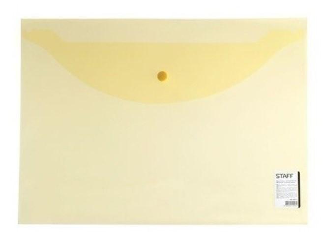 Папка-конверт с кнопкой эконом, А4, прозрачная, желтая
